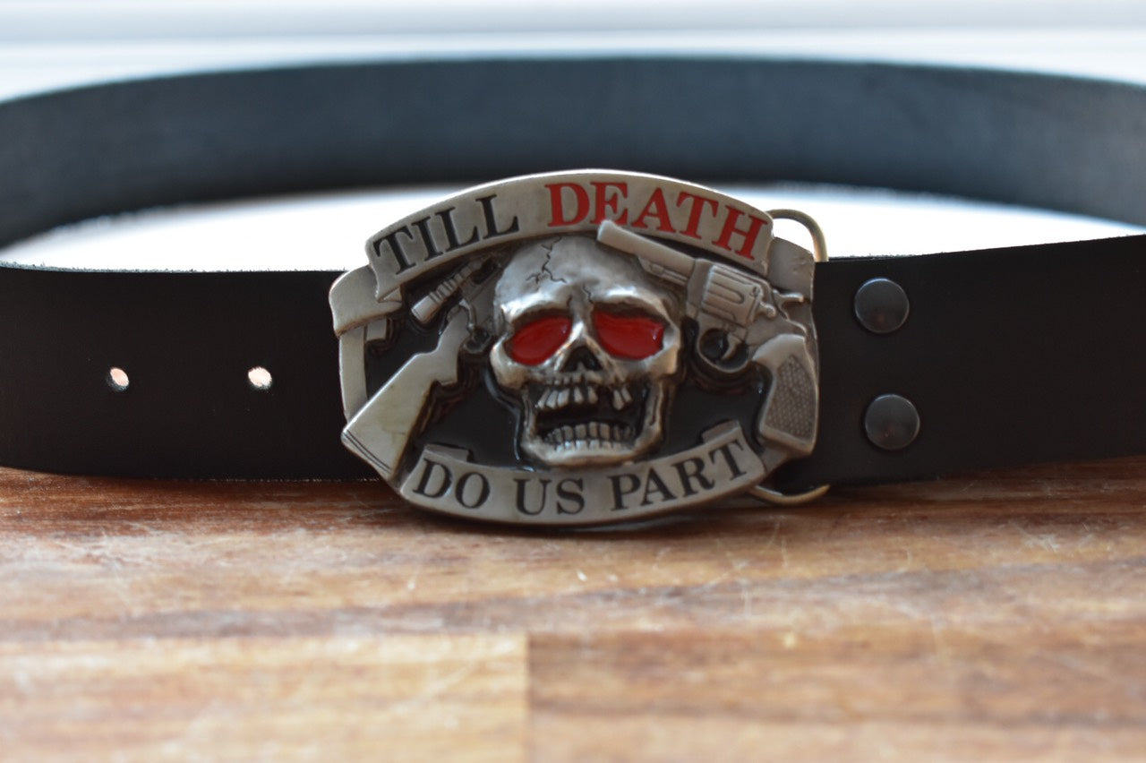 custom black leather belt skull death