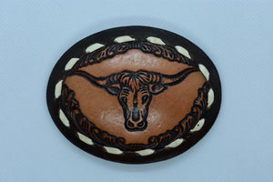 custom leather belt buckles cattle-head western