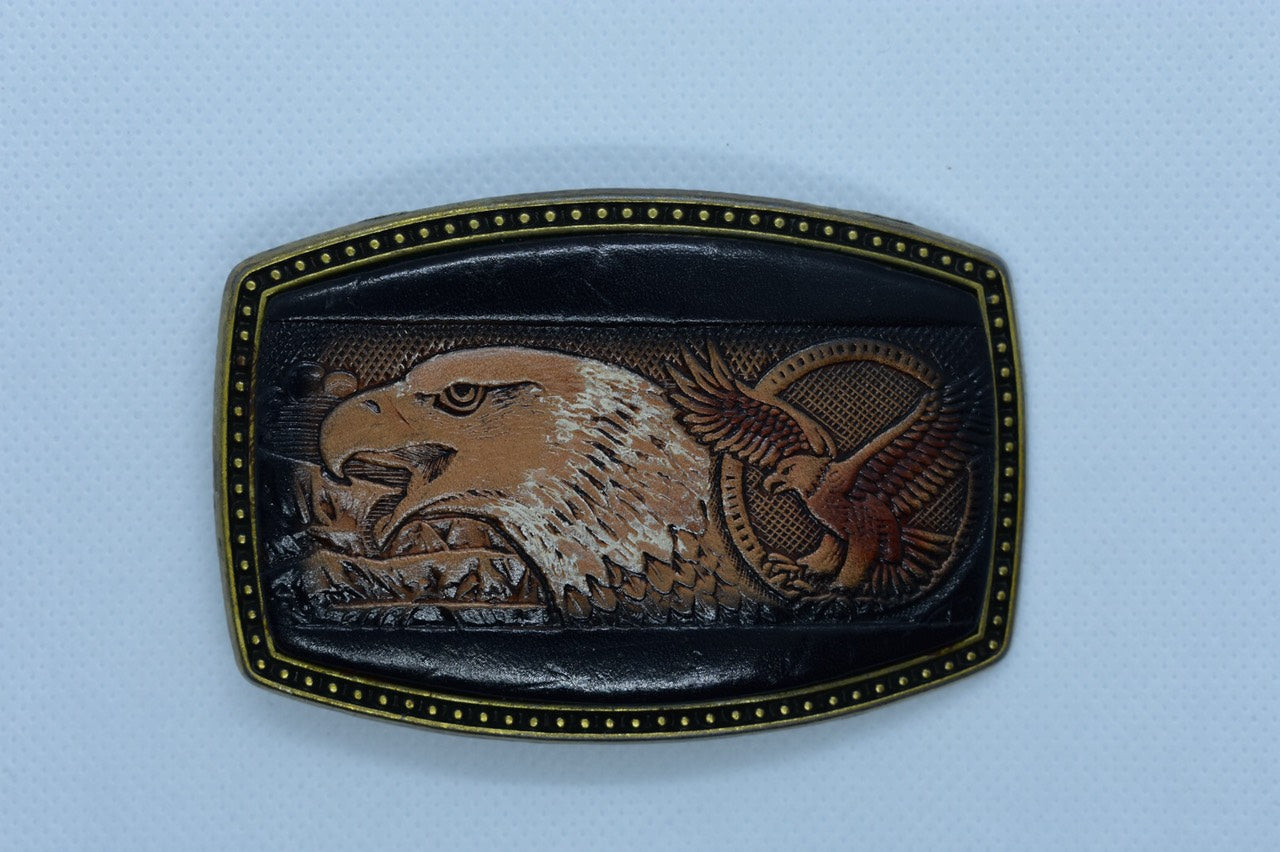 custom leather belt buckles american bald eagle
