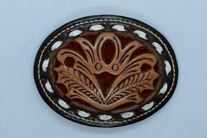 custom leather belt buckles floral ornamental