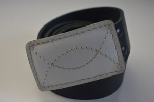 White Leather Belt Buckle