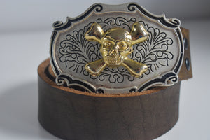 Custom Belt Buckles Golden Skull