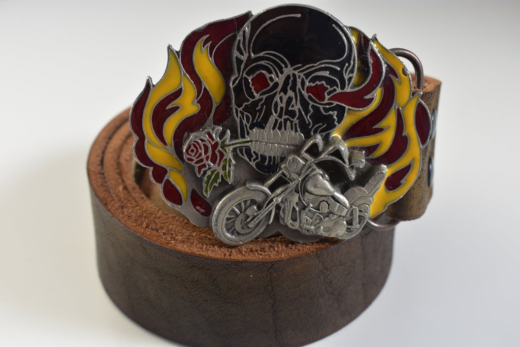 Skull and Motorcycle Belt Buckle