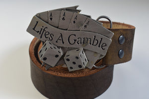 Custom Belt Buckles - Life is a gamble