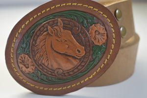 Leather Belt Buckles Horse