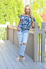 Naomi Navy Print Off the Shoulder Top