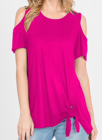 Fuchsia Cold Shoulder Twist Knot Top