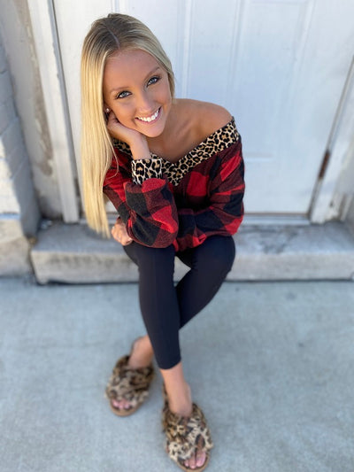 Red Buffalo Plaid with Cheetah Trim Top