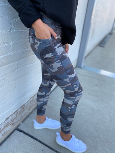 Camo Print Leggings in Blue Grey