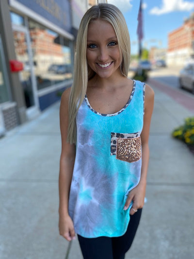 Jade Tie Dye Tank with Sequin Pocket