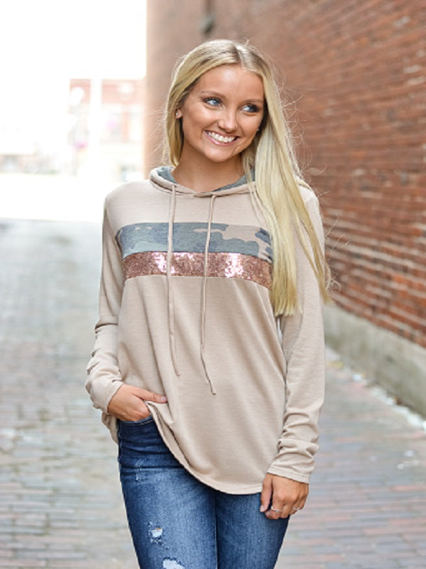 Mocha Color Block Hooded Top