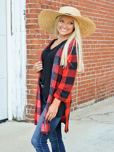 Black/Red Buffalo Plaid Cardigan