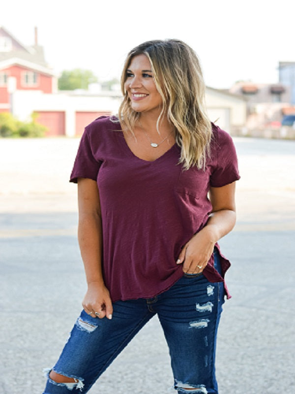 Tawny Port (Burgundy) Basic V-Neck Tee