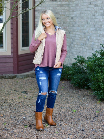 Tan Quilted Vest