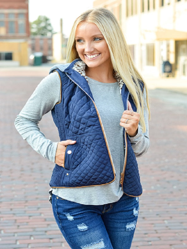 Navy Quilted Vest