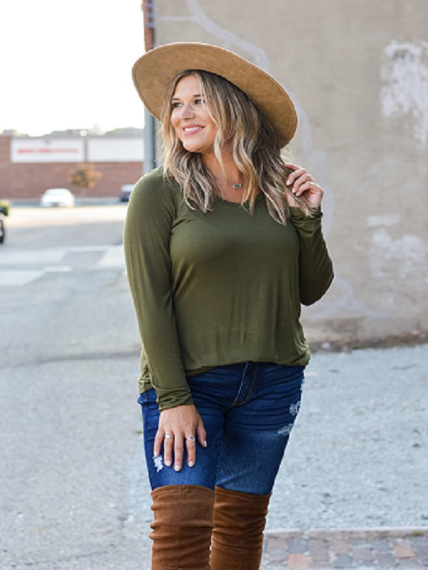 Olive Long Sleeve Basic V-Neck