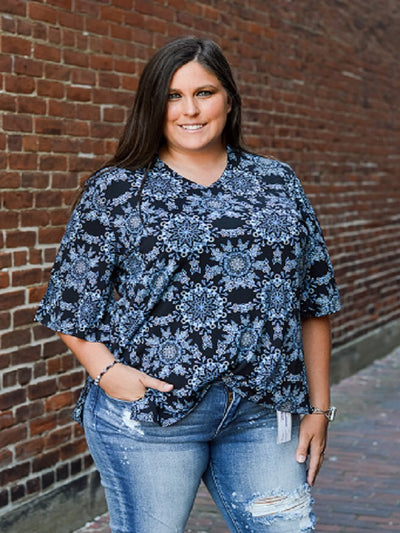 Black/Blue Print Plus Size Top