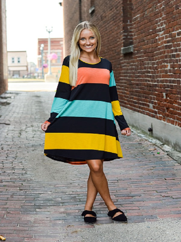 Black Multi Color Block Dress