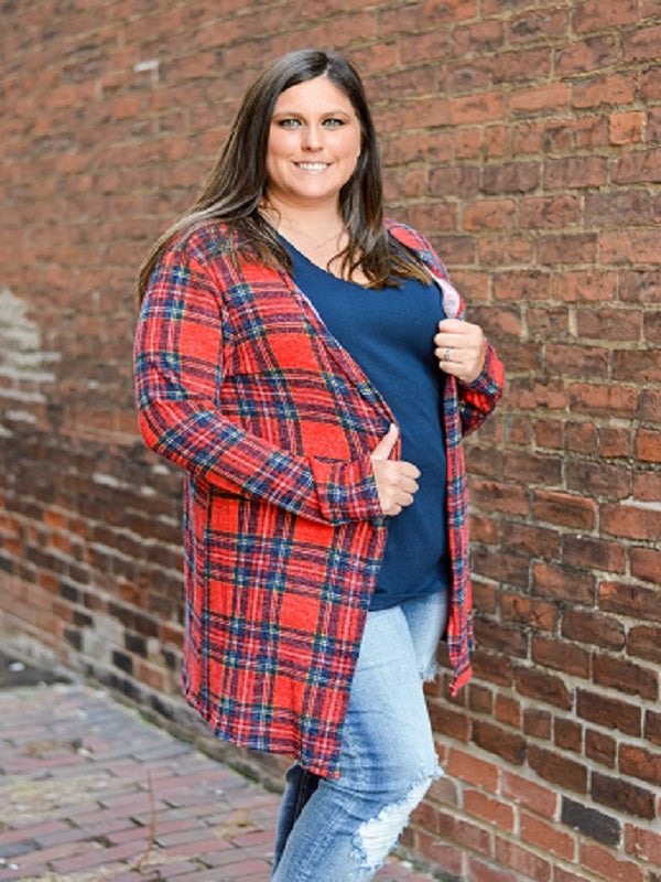 Red Plaid Open Front Cardigan
