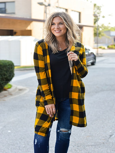 Mustard Plaid Long Sleeve Cardigan