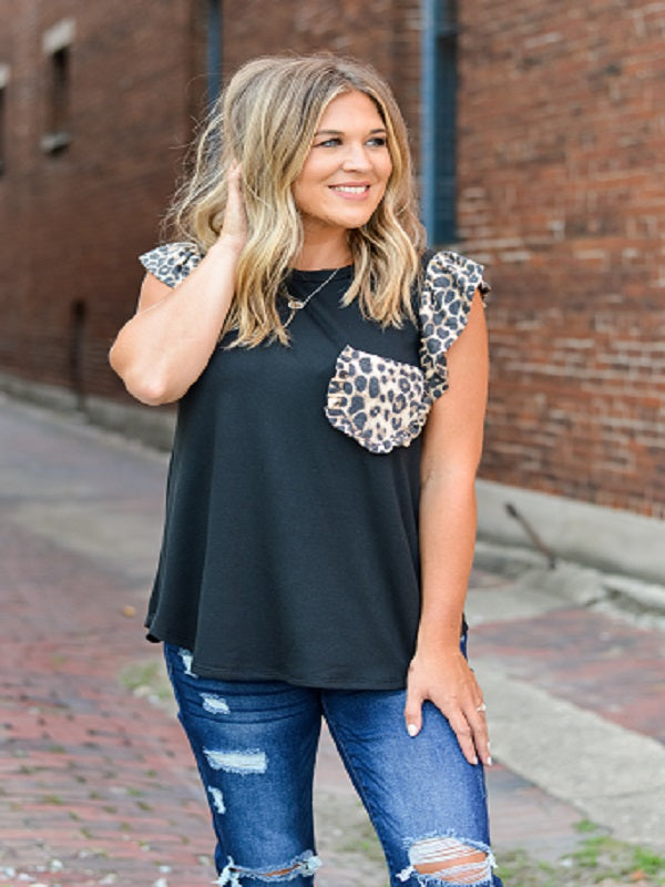 Black Top with Leopard Detail