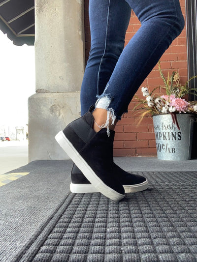 Black Diana Wedge Sneakers