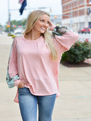 Dusty Rose Long Sleeve Top with Floral Detail