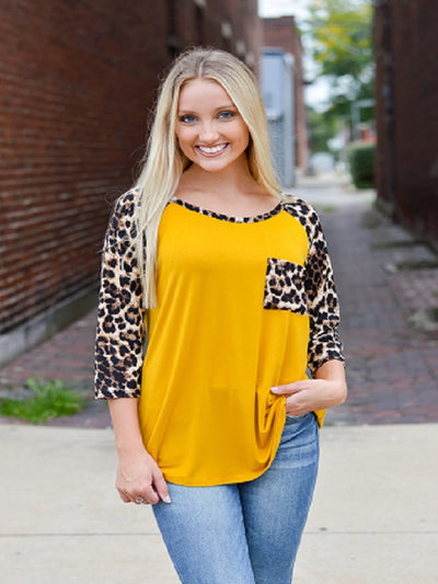 Mustard 3/4 Sleeve with Leopard Print