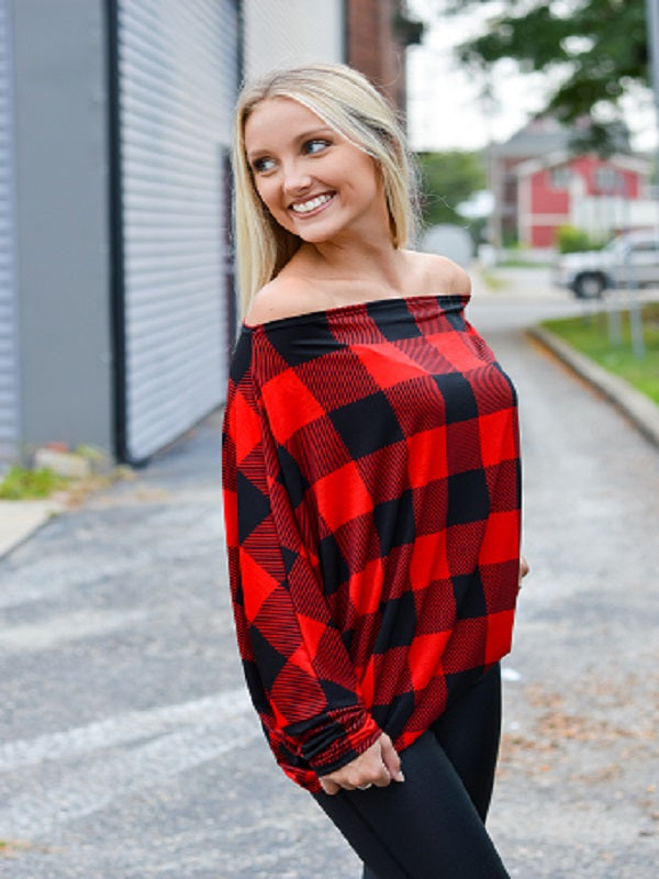 Red/Black Buffalo Plaid One Shoulder Top