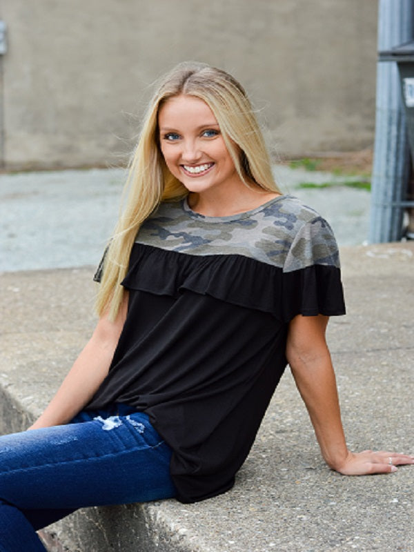 Black Ruffle Top with Camo Contrast