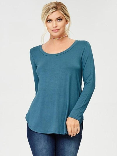 Teal Long Sleeve Basic Top