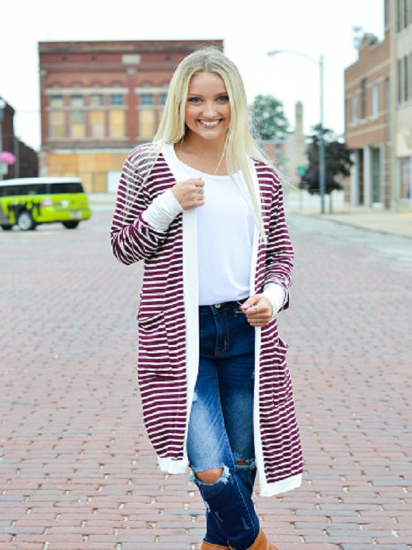 Burgundy Stripe Long Sleeve Cardigan
