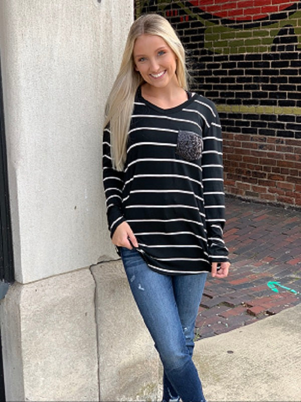 Charity Black Stripe Long Sleeve V-Neck