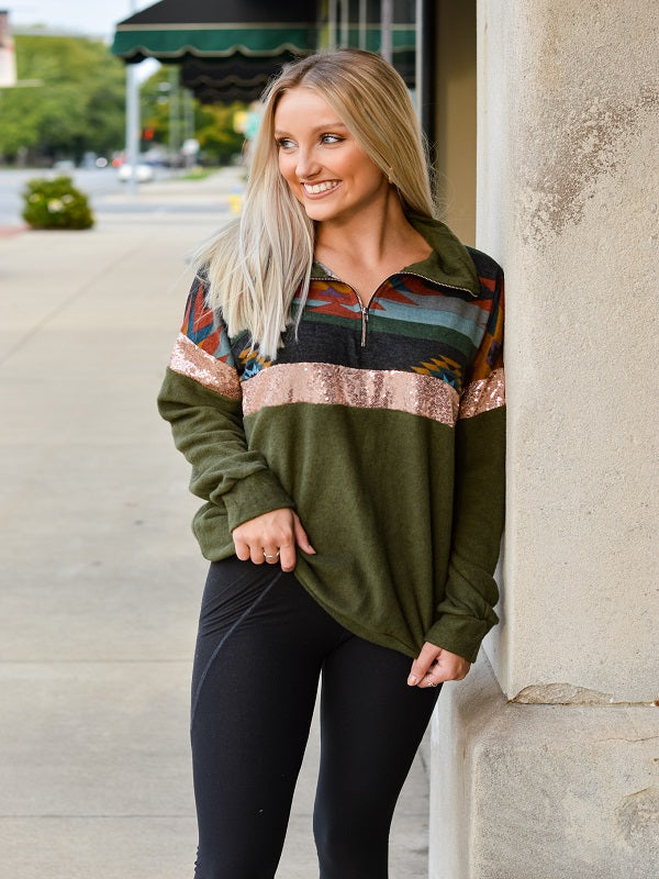 Olive Aztec Sweater