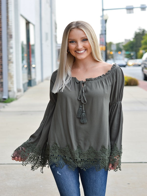 Chantilly Olive Long Sleeve Blouse