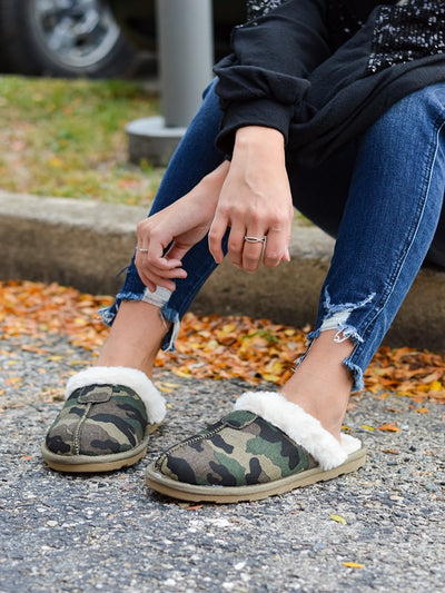 Reba Olive Camouflage Slippers