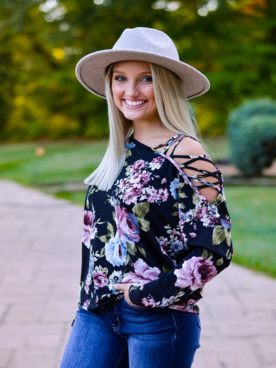 Black Floral Print Peek-a-Boo Shoulder Top