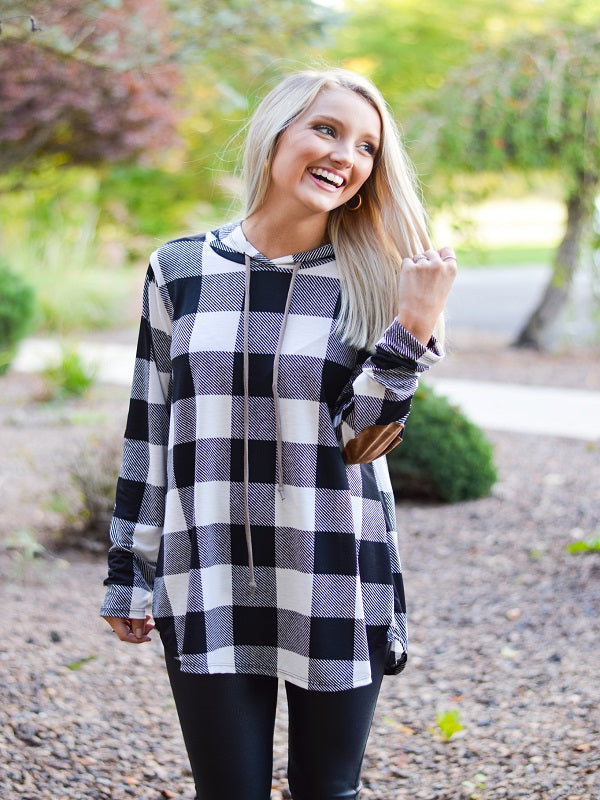 Ivory Plaid Hooded Top