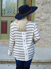 Oatmeal Stripe Long Sleeve Top