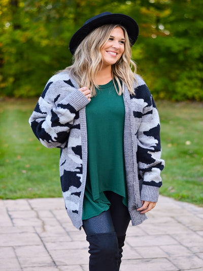 Black Camo Oversized Sweater Cardigan