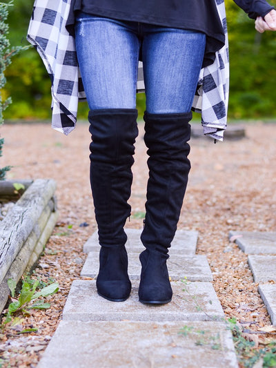 Pearl Black Over Knee Boot
