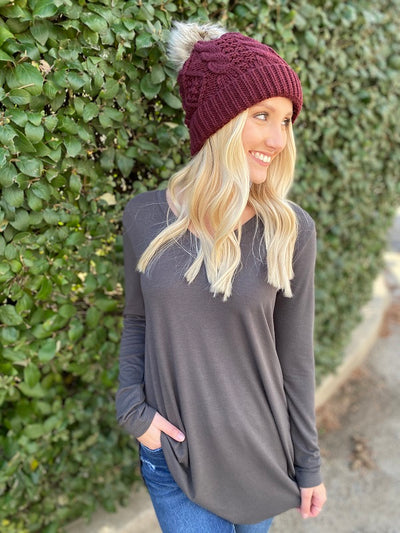 Charlotte Ash Grey Basic Top