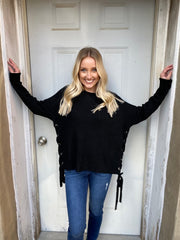 Black Sweater with Lace Up Sides