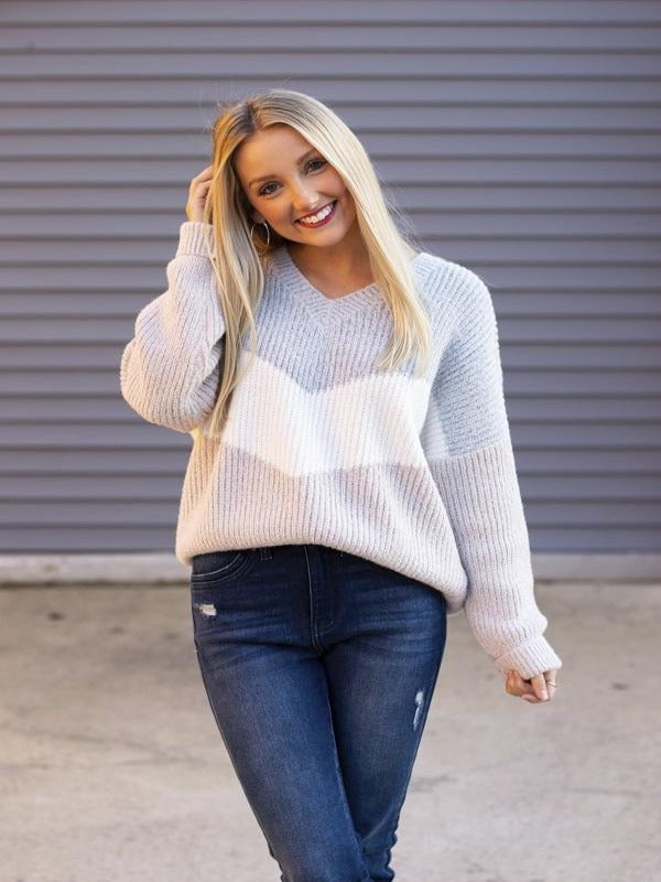 Cloud Blue and Camel Sweater