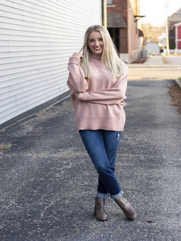 Misty Rose Turtle Neck Sweater