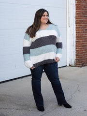 Gia Sage Multi Color Block Sweater