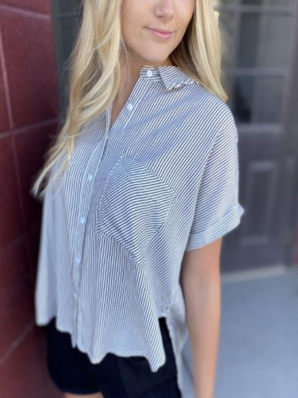 Hailey Black and White Striped Blouse