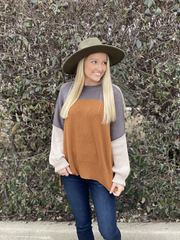 Emma-Lee Charcoal/Rust Color Block Sweater