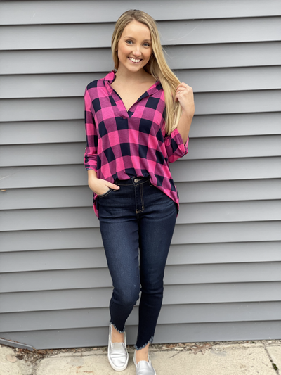 Navy/Fuchsia Plaid 3/4 Sleeve Top