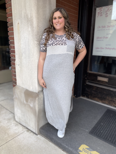 Hazel Heather Grey Curvy Maxi